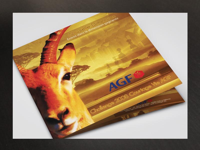 Brochure Carree Agf Afrique brand company reward catalogue multi-page agents fidelity trip insurance brochure square