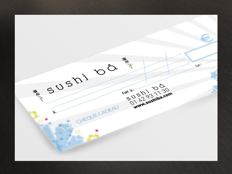 Cheque Cadeau Sushi Ba fidelity take away restaurant gift japanese food japan sushi design check check design