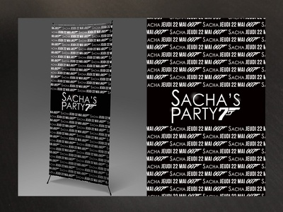 Sacha Party Kakemono design fan youngman celebration printing large format rollup kakemono