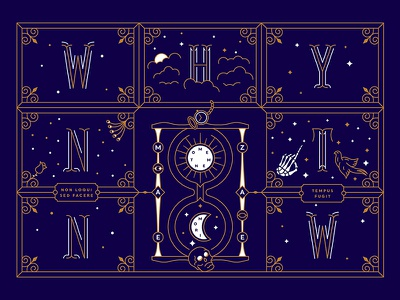 Why Not Now time cloud star line art moon sun hourglass latin hand live death postcard