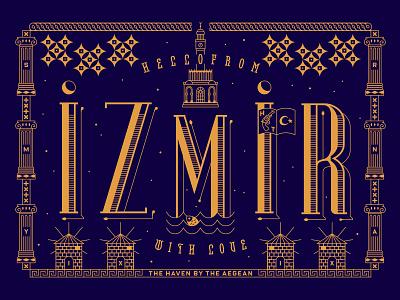 Izmir Postcard letterpress windmill clock star ancient roman flag history love aegean turkey city