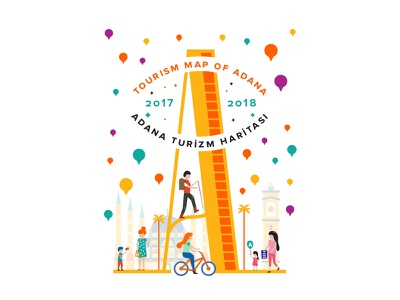 Adana shopping balloon pin monument clock mosque trekking child palm bicycle turkey map