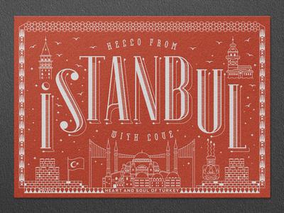Istanbul Letterpress Postcard sophia hagia hagiasophia tulip bird letter press istanbul bosphorus rampart medusa basilica maiden tower galata turkey typography type print postcard