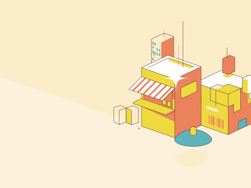 Shops and package branding cubes isometric illustration package shopping