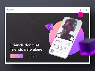 Wingmate website 3d dark uiux dating app dating