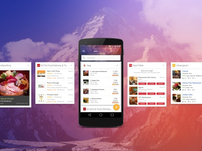 Quixey Deep Views 2 cards material design android urbanspoon opentables yelp eat24 apps food app search engine search mobile deep views quixey