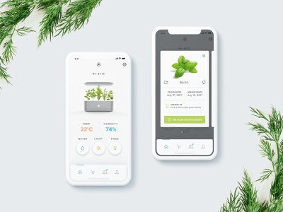 AVA Mobile App iphonex pods app mobile humidity template thyme rosemary basil plants greens grow herbs garden indoor smart ava