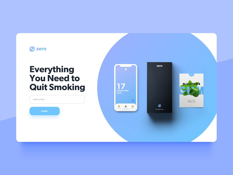 Zero by Ro: Website Concept 2 signup ux ui landing page landing desktop smoking cessation smoking quit website