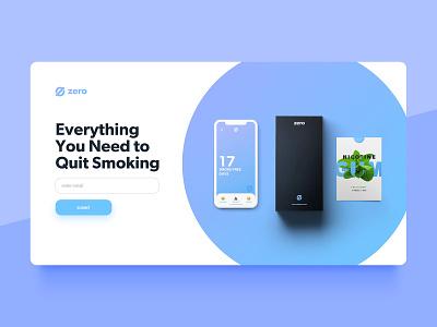 Zero by Ro: Website Concept 2 signup ux ui landing page landing desktop smoking cessation smoking quit website
