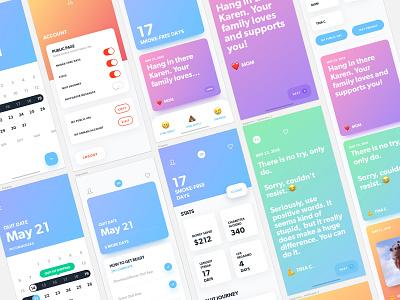 Zero by Ro: Mobile Concepts 4 gradient mobile ios ux ui cessation smoking quit health men zero