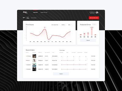 Jazz Image Print Dashboard erp analytics nike progress web app ux ui bar graph client dashboard printing large format jazz image