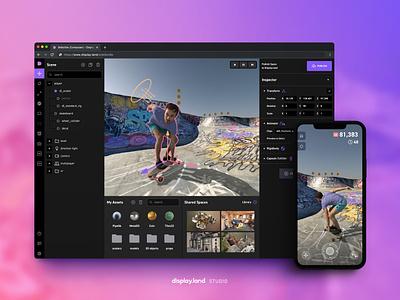 Display.land Studio spaces game engine displayland web app mobile 3d editor studio virtual reality augmented reality