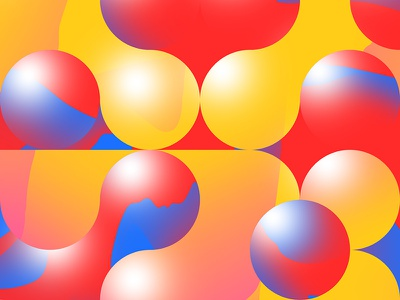 Old Work gradient yellow blue red color shapes circles