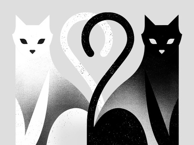 The Cat Show illustration bw white black cat cats