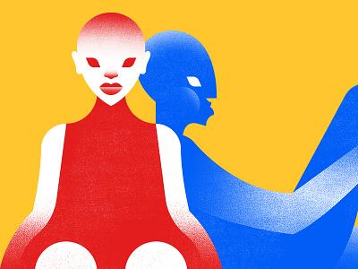 Red & Blue illustration portrait profile figure blue red