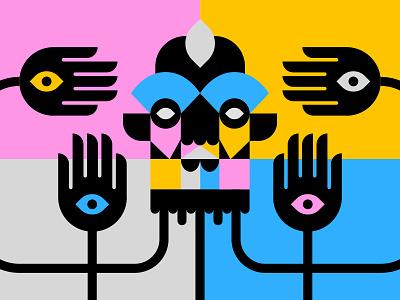 Untitled color shapes man gold pink blue illustrations