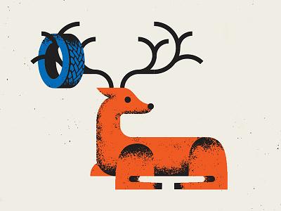 Deer in Headlights illustration comprehensive headlights tire deer insurance wreck car root