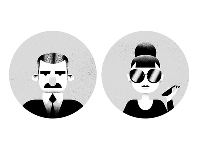 Agent Pushy & Agent No-show portrait bw people illustratin blog agent insurance root