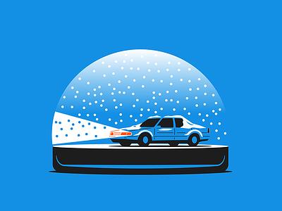 Snow Globe headlights globe snow blue prep car winter