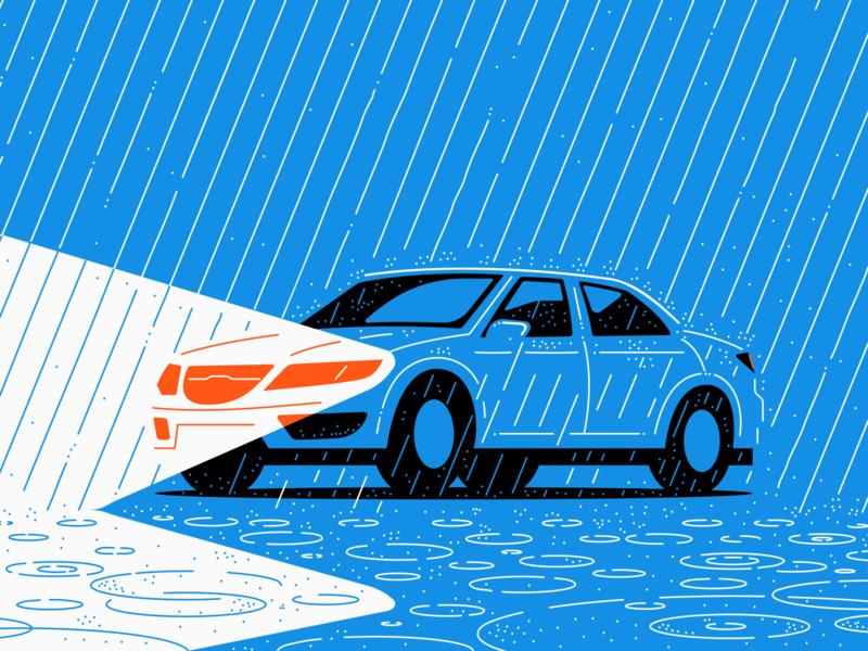 Driving in the rain puddles splash wet blue brand illustration natural disaster storm lights car rain
