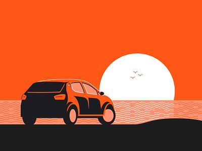 Sunset Drive ocean monochromatic orange sunset insurance root design car illustration
