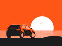 Sunset Drive ocean monochromatic orange sunset insurance root design car illustration