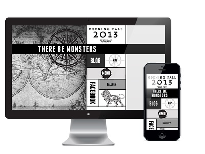 There Be Monsters Website web design logo design responsive