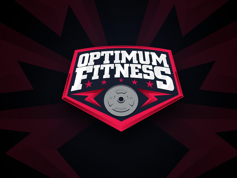Optimum Fitness Logo dumbell barbell weight lifting logotype fitness optimum gym sport logo logo sport