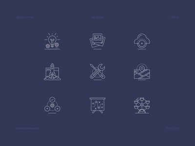 Agency icon set ai vector icon set icon grid design