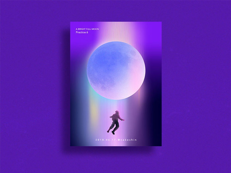 Practice art moon poster design colorful