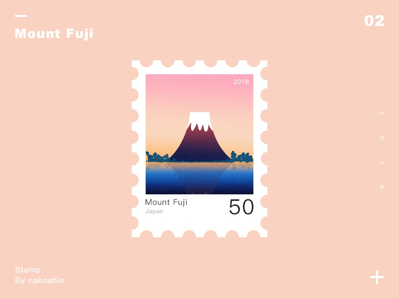 Stamp mountfuji color stamp
