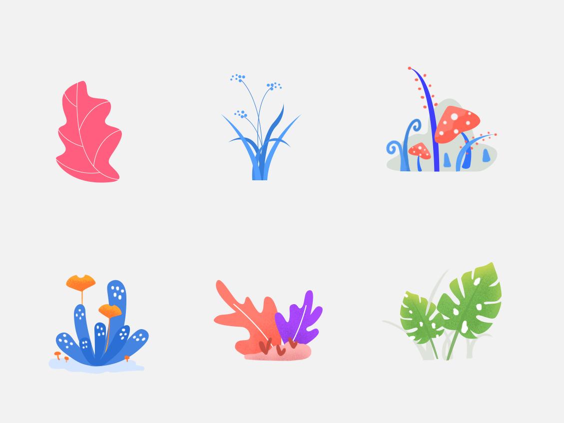 Plants color plants illustration material