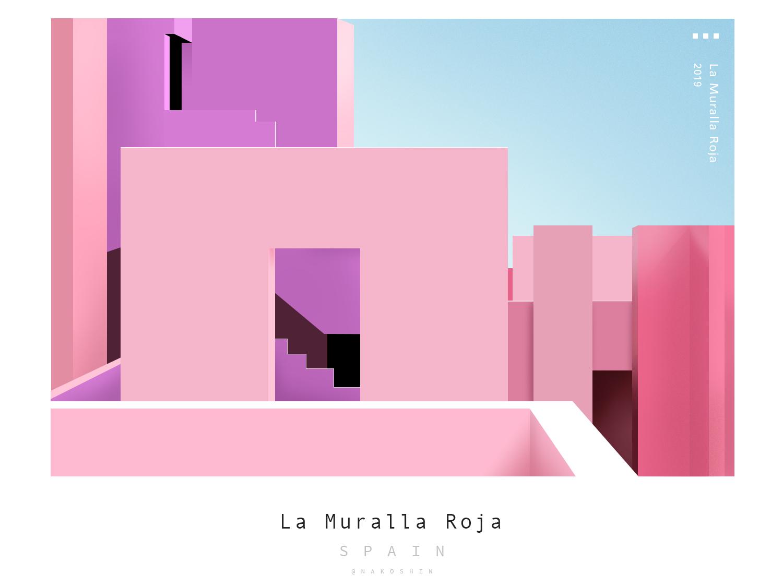 La Muralla Roja landscape colorful pink spain building illustration