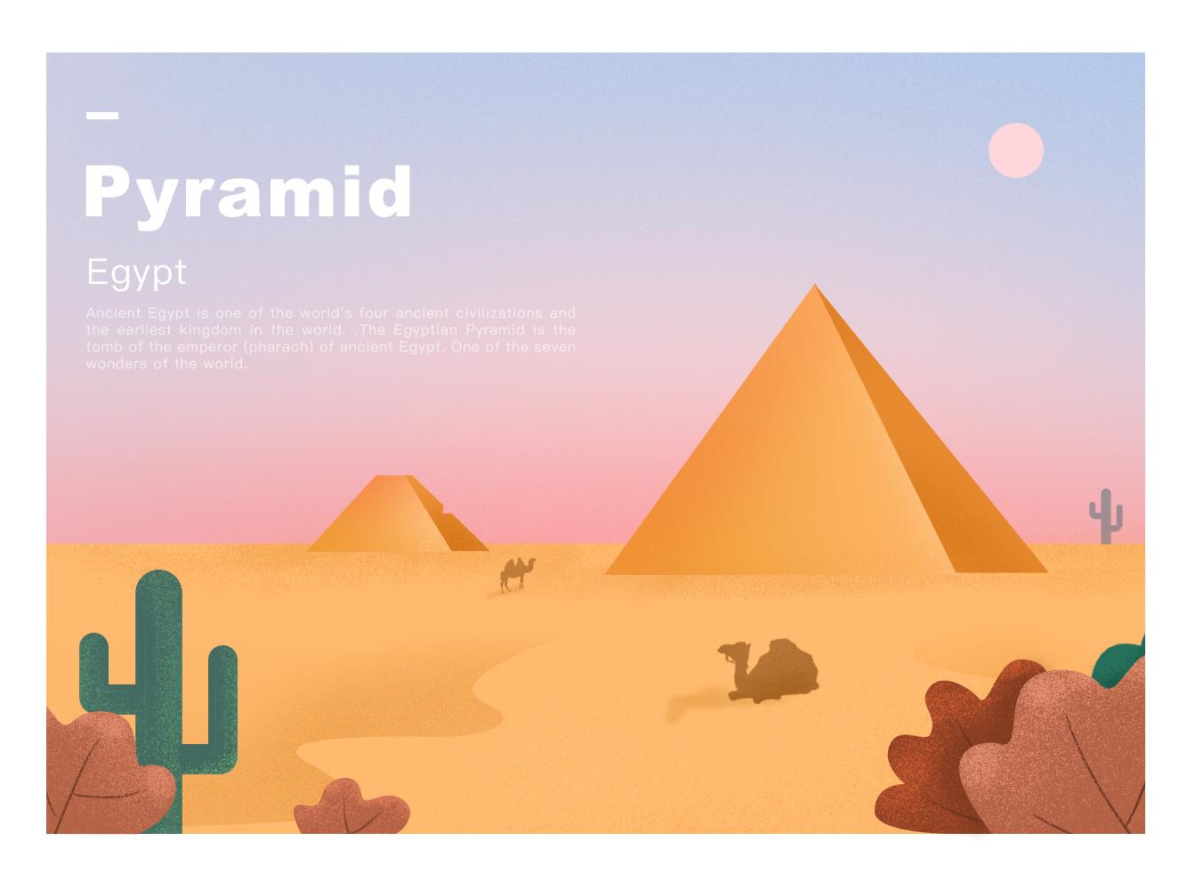 Pyramid landscape color pyramid illustration