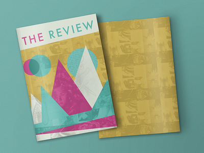 'The Review' Cover yellow teal publication texture pattern magenta magazine geometric design cover