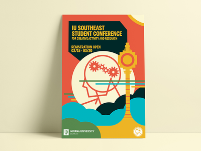 IU Southeast Student Conference Poster Campaign campaign marketing promotional illustrator colors circles swiss geometric poster