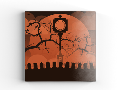 Haunted Illustration vector autumn fall print magazine orange publication cover editorial spooky haunted