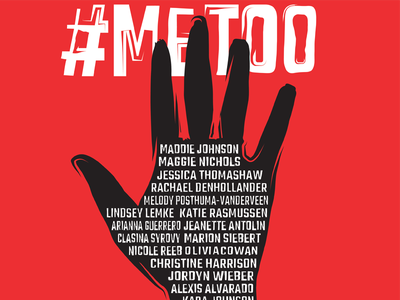 #MeToo Editorial Graphic editorial typography white black red silhouette raised hand bass saul typographic