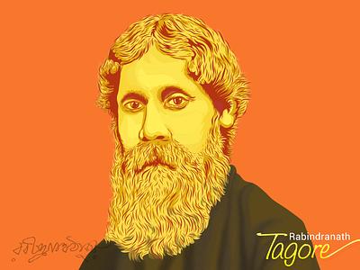 Rabindranath Tagore (1861-1941) india illustration calcutta jana gana mana gitanjali santiniketan polymath poetry nobel literature kolkata bengali
