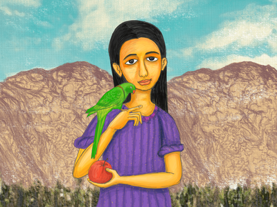 The girl with a parrot