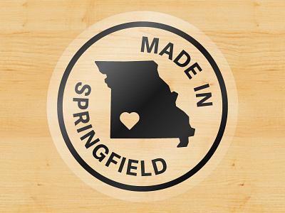 Made In Springfield Sticker made in wood city heart state mo missouri springfield illustrator sticker