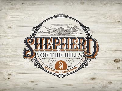 Shepherd of the Hills Logo Concept rustic filigree emblem vintage wood badge logo