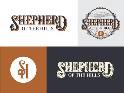 Final Shepherd of the Hills Rebrand graphic vector illustration emblem badge old world vintage logo branding
