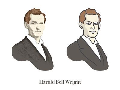 Harold Bell Wright Illustration line art live trace portrait face illustration