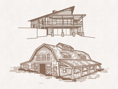 House & Barn Sketches