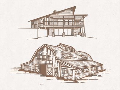 House & Barn Sketches modern farm barn rustic etching vector illustration