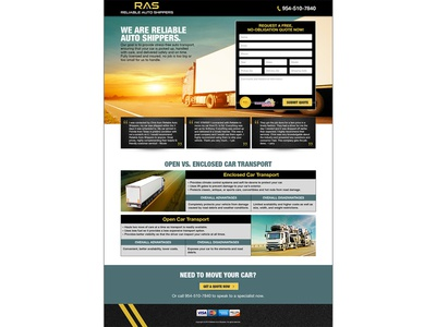 Reliable Auto Shippers Logo & Landing Page design website landing page logo