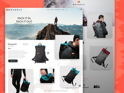 Landing Page ux web day pack outdoors backpacks daily ui landing page bramble on