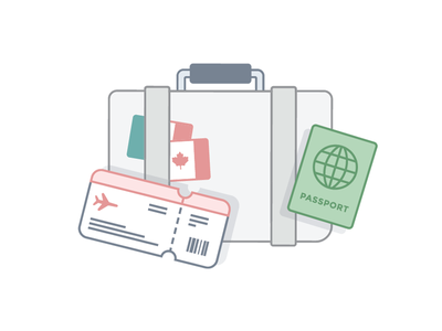 We're going places! retreat flag airport flying passport suitcase illustration icon perks travel
