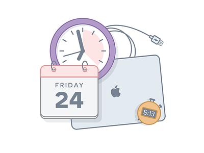 Balance is the key. balance rest time stopwatch calendar clock macbook illustration icon work